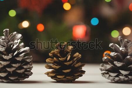 Três pinho mesa de madeira natal tempo futebol Foto stock © wavebreak_media