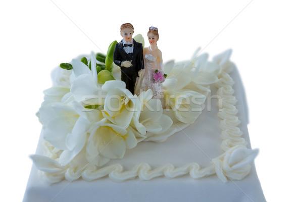 Pastel de bodas Pareja flores blanco salud estilo de vida Foto stock © wavebreak_media