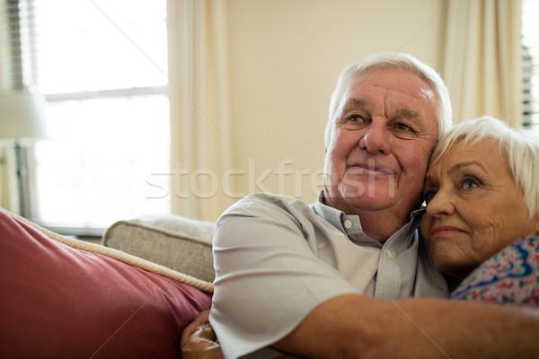 Happy senior couple embracing each other in living room Stock photo © wavebreak_media