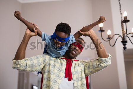 изображение отцом сына superhero здании ребенка Сток-фото © wavebreak_media