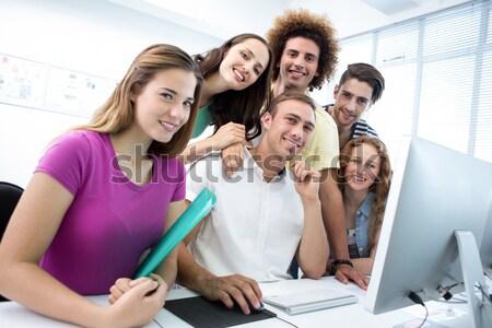 улыбаясь студентов компьютер класс белый Сток-фото © wavebreak_media