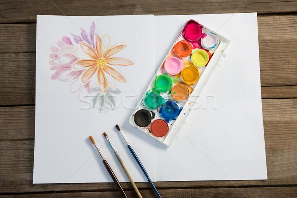 красочный палитра кисти бумаги поверхность Сток-фото © wavebreak_media