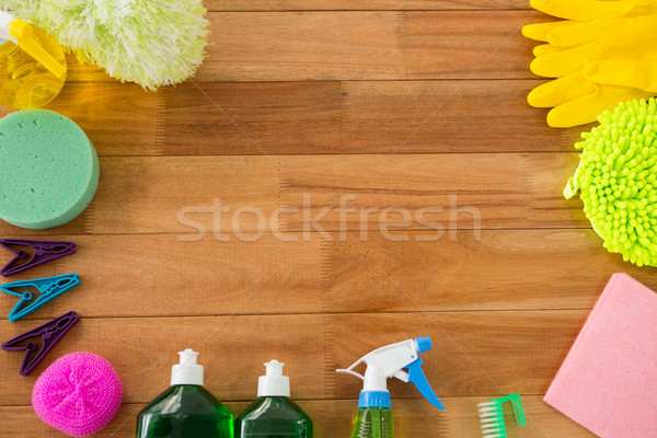 Overhead view of various cleaning products Stock photo © wavebreak_media