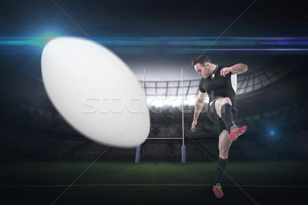 összetett kép rögbi játékos rúg stadion Stock fotó © wavebreak_media