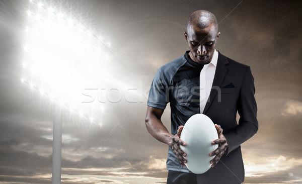 összetett kép figyelmes atléta néz rögbilabda Stock fotó © wavebreak_media