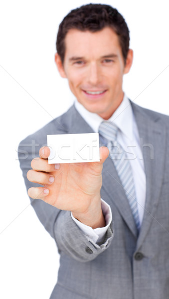 Charyzmatyczny biznesmen biały karty działalności Zdjęcia stock © wavebreak_media