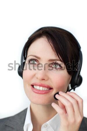 Zakenvrouw hoofdtelefoon witte vrouw glimlach telefoon Stockfoto © wavebreak_media