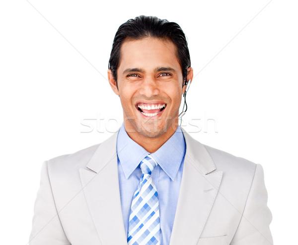 Mosolyog üzletember headset fehér iroda internet Stock fotó © wavebreak_media