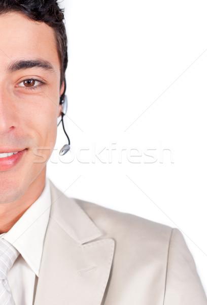Klantenservice vertegenwoordiger hoofdtelefoon witte business glimlach Stockfoto © wavebreak_media