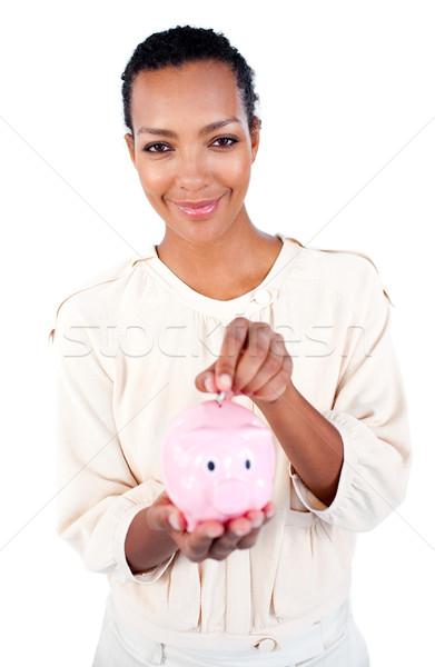 харизматический деловая женщина деньги белый Сток-фото © wavebreak_media