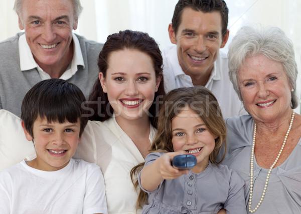 Family watching television at home Stock photo © wavebreak_media