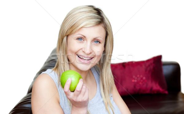 женщину еды яблоко белый продовольствие счастливым Сток-фото © wavebreak_media