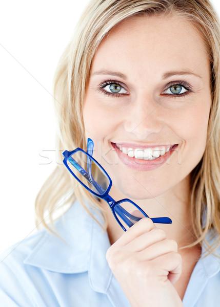 Kobieta okulary biały przestrzeni Zdjęcia stock © wavebreak_media