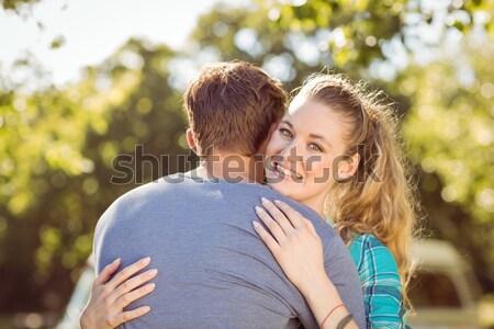 Kobieta chłopak parku rodziny uśmiech Zdjęcia stock © wavebreak_media