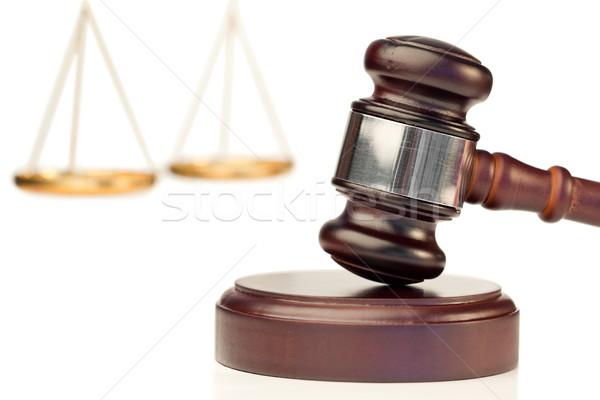 Marrom gabela escala justiça branco assinar Foto stock © wavebreak_media