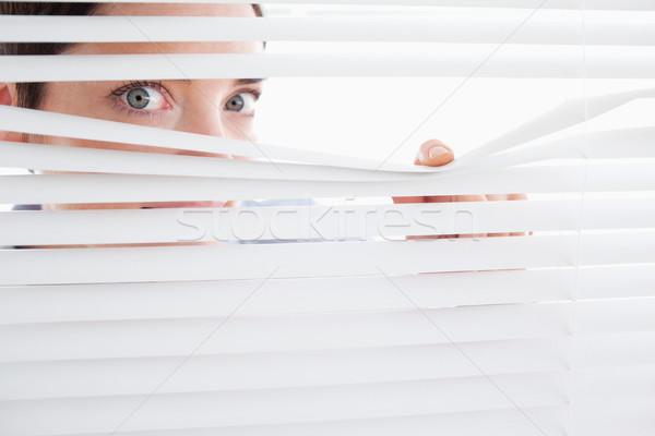 Gyönyörű nő ki ablak iroda arc haj Stock fotó © wavebreak_media
