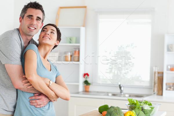 улыбаясь муж жена кухне дома Сток-фото © wavebreak_media