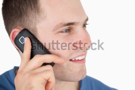 человека телефон белый лице счастливым Сток-фото © wavebreak_media