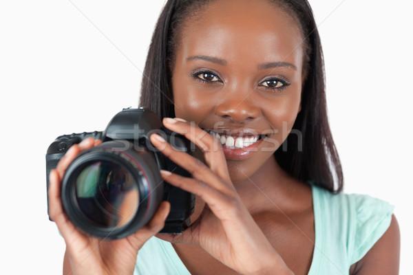 笑みを浮かべて 小さな カメラマン 作業 白 少女 ストックフォト © wavebreak_media