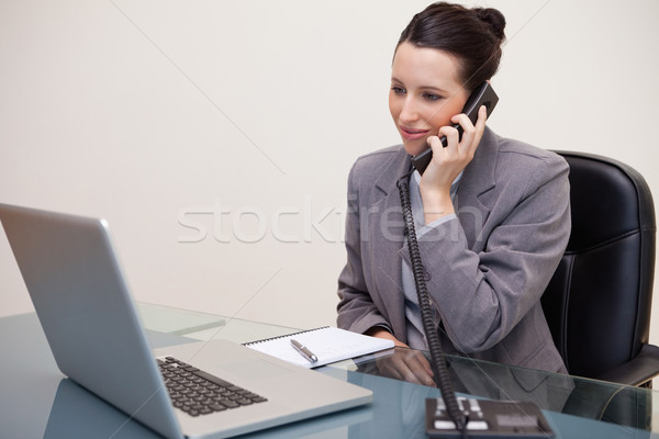 Smiling young businesswoman on the telephone Stock photo © wavebreak_media