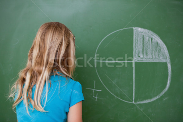 Schoolgirl learning the divisions on a blackboard Stock photo © wavebreak_media
