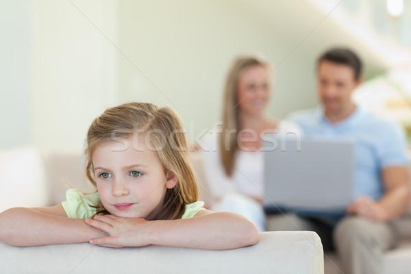 Zamyślony dziewczyna rodziców za komputera Internetu Zdjęcia stock © wavebreak_media