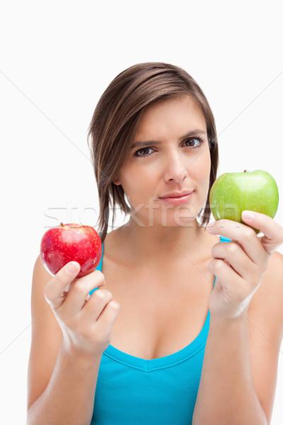 Foto stock: Sério · adolescente · verde · maçã · vermelho