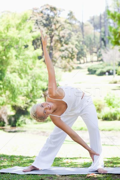 Stok fotoğraf: Genç · kadın · sıcak · yukarı · park · spor · güzellik