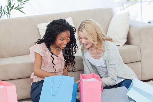 Stock photo: Two women sitting on the floor with shopping bags are smiling