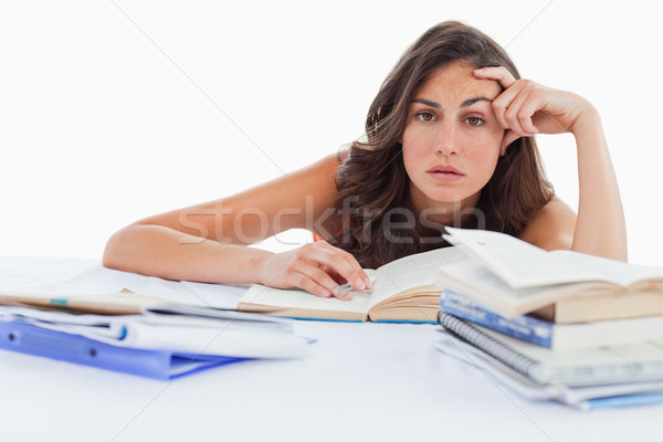 Nudzić student praca domowa biały ręce książek Zdjęcia stock © wavebreak_media