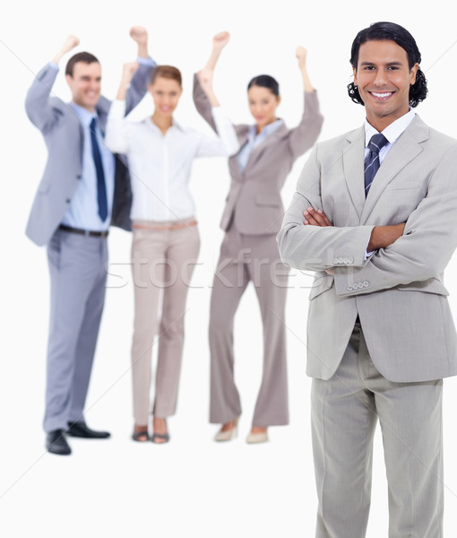 Klein zakenman glimlachend armen enthousiast Stockfoto © wavebreak_media