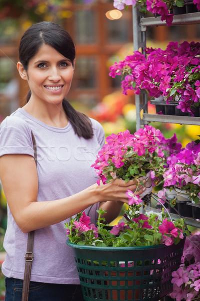 Сток-фото: женщину · розовый · цветы · улыбаясь · улыбка