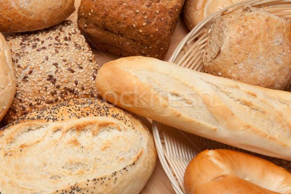 разнообразие корзины деревянный стол продовольствие таблице свежие Сток-фото © wavebreak_media