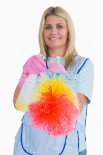 クリーナー 羽毛 白 女性 幸せ ストックフォト © wavebreak_media