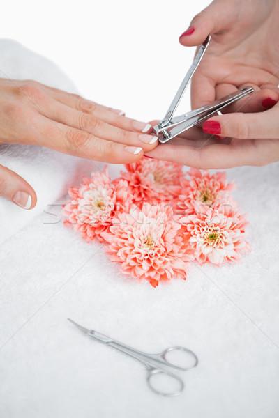 Frau Schneiden Fingernagel Nagelstudio Hände Stock foto © wavebreak_media