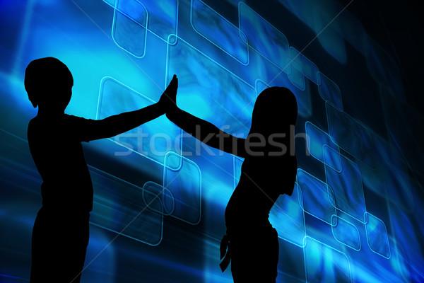Immagine blu piazze nero silhouette Foto d'archivio © wavebreak_media
