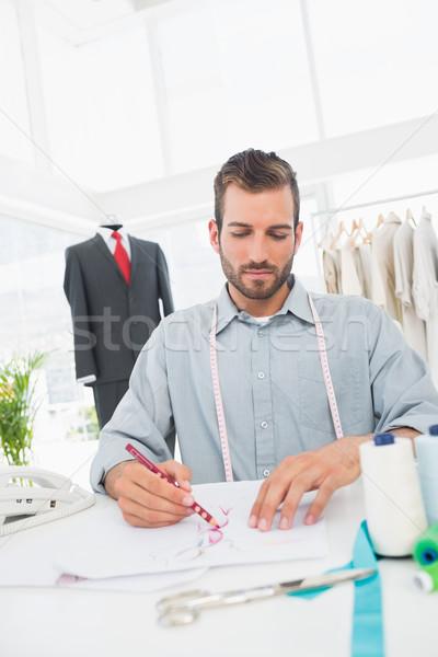 Moda tasarımcı çalışma tasarımlar stüdyo genç Stok fotoğraf © wavebreak_media