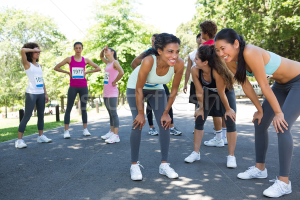 Maraton İkincisi kırmak grup mutlu Stok fotoğraf © wavebreak_media