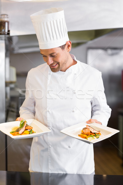 Smiling male chef with cooked food in kitchen Stock photo © wavebreak_media