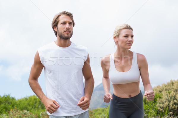 привлекательный пару бег горные тропе Сток-фото © wavebreak_media