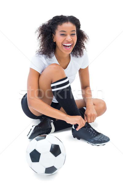 Mooie voetballer witte gelukkig sport voetbal Stockfoto © wavebreak_media