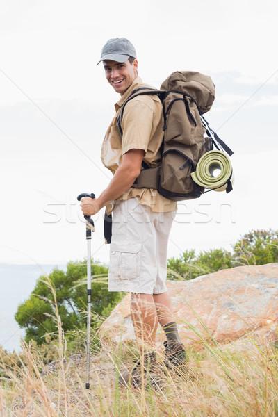 Portret wandelen man lopen berg terrein Stockfoto © wavebreak_media