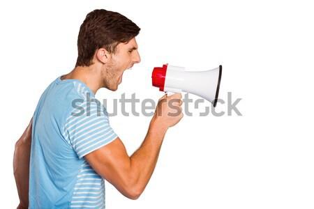 Jonge man megafoon witte praten woede Stockfoto © wavebreak_media
