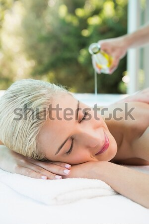 Stockfoto: Mooie · vrouw · steen · massage · gezondheid · boerderij · zijaanzicht