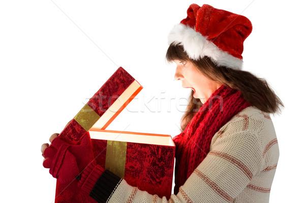 ünnepi barna hajú nyitás izzó karácsony ajándék Stock fotó © wavebreak_media