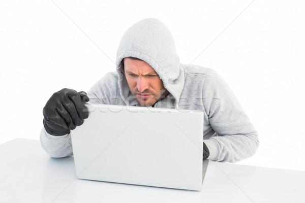 Hacker laptopot használ arculat fehér férfi technológia Stock fotó © wavebreak_media