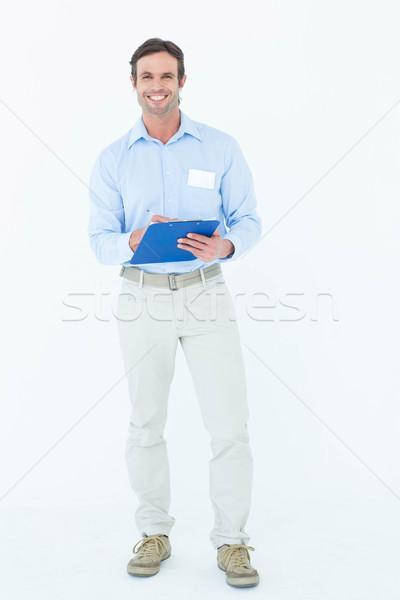 бизнесмен буфер обмена портрет белый человека Сток-фото © wavebreak_media
