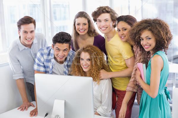 Diákok dolgozik számítógépszoba főiskola lány férfi Stock fotó © wavebreak_media