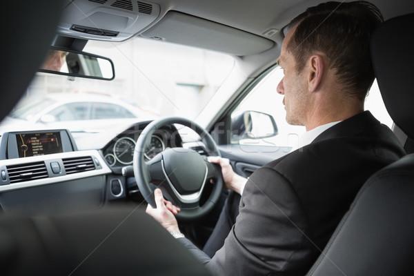 Empresario asiento coche negocios ventana traje Foto stock © wavebreak_media