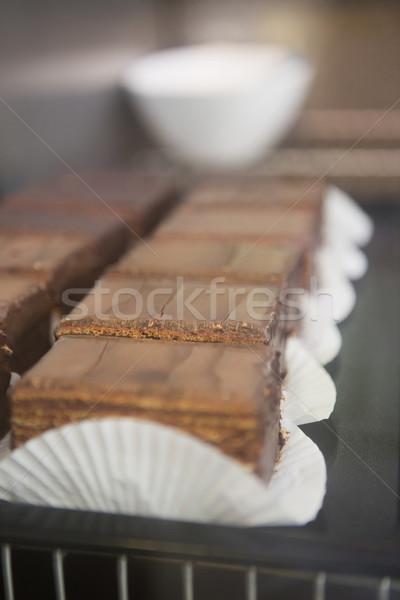 Dilimleri taze iş çikolata çöl Stok fotoğraf © wavebreak_media